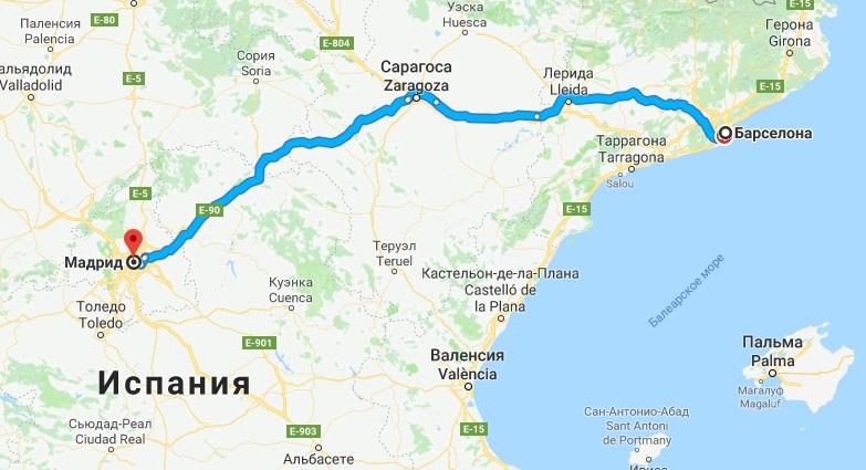 Путь из Барселоны в Мадрид на карте