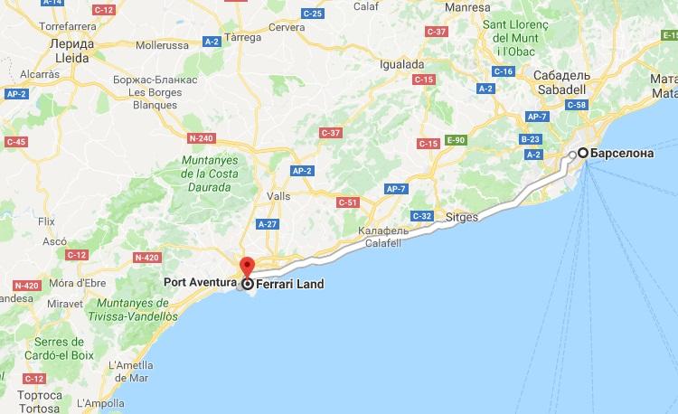 Ferrari land на карте Испании
