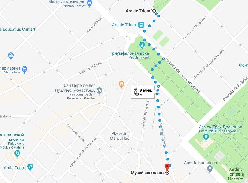 Музей шоколада на карте Барселоны