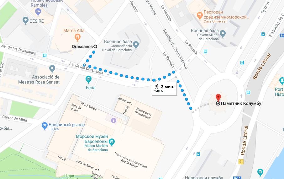 Памятник Колумбу на карте Барселоны