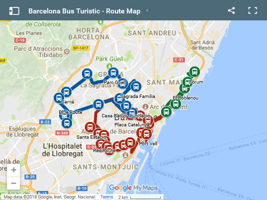 Маршруты Barcelona bus touristic
