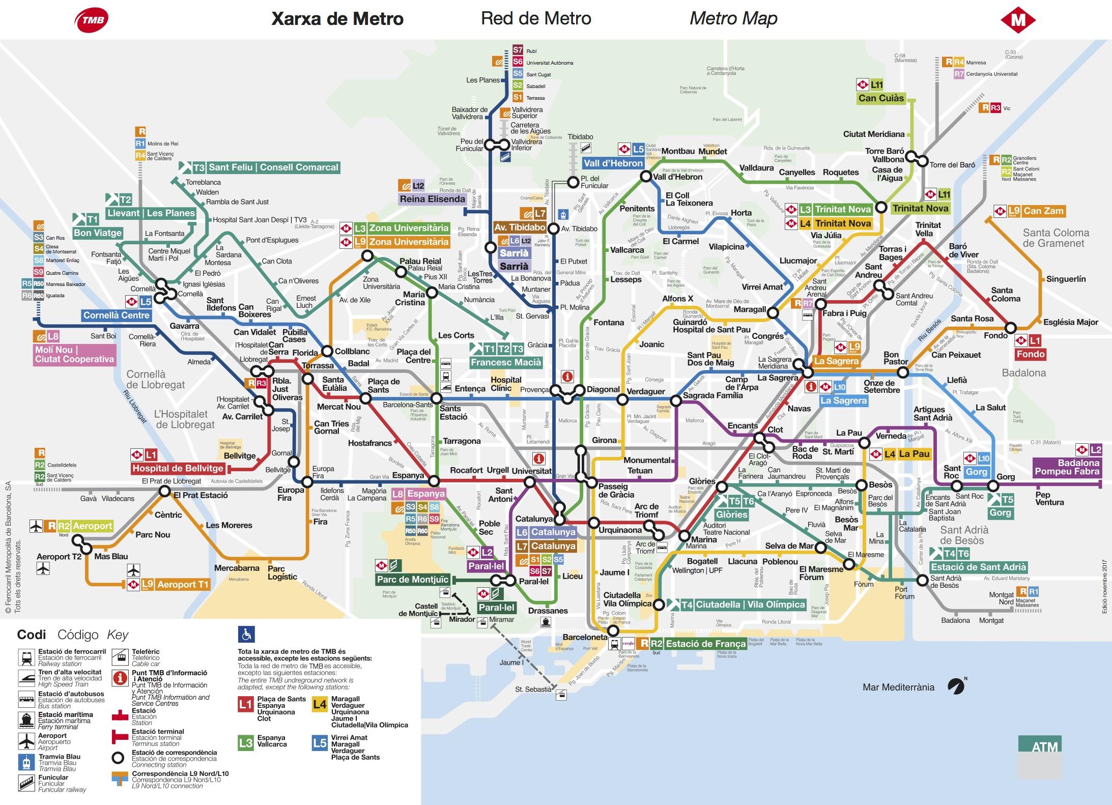 Карта метрополитена Барселоны 2018