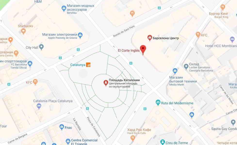 Эль Корте Инглес на карте Барселоны
