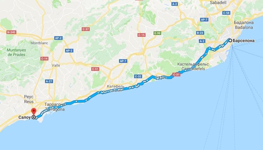 Маршрут Барселона-Салоу на карте