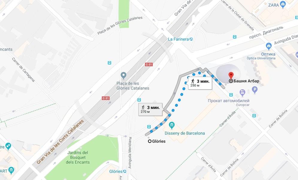 Torre Agbar на карте Барселоны