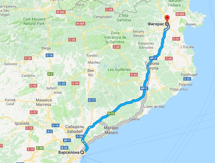 Фигерас на карте Испании