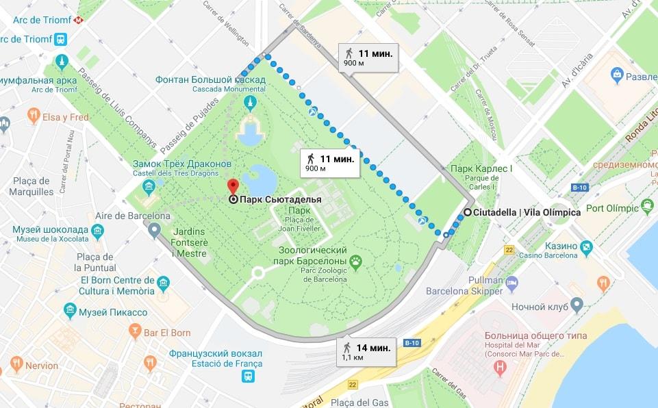 Parc de la Ciutadella на карте Барселоны