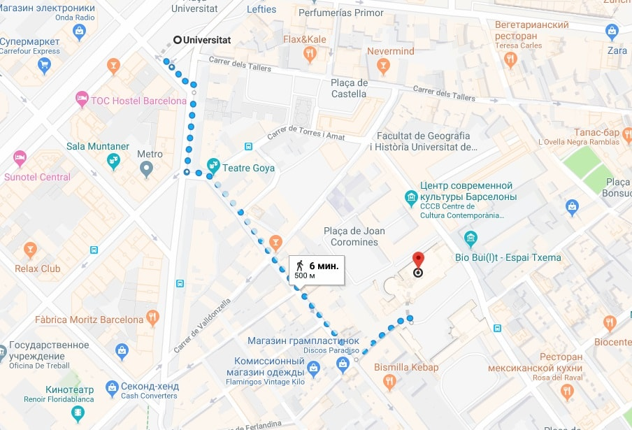 MACBA на карте Барселоны