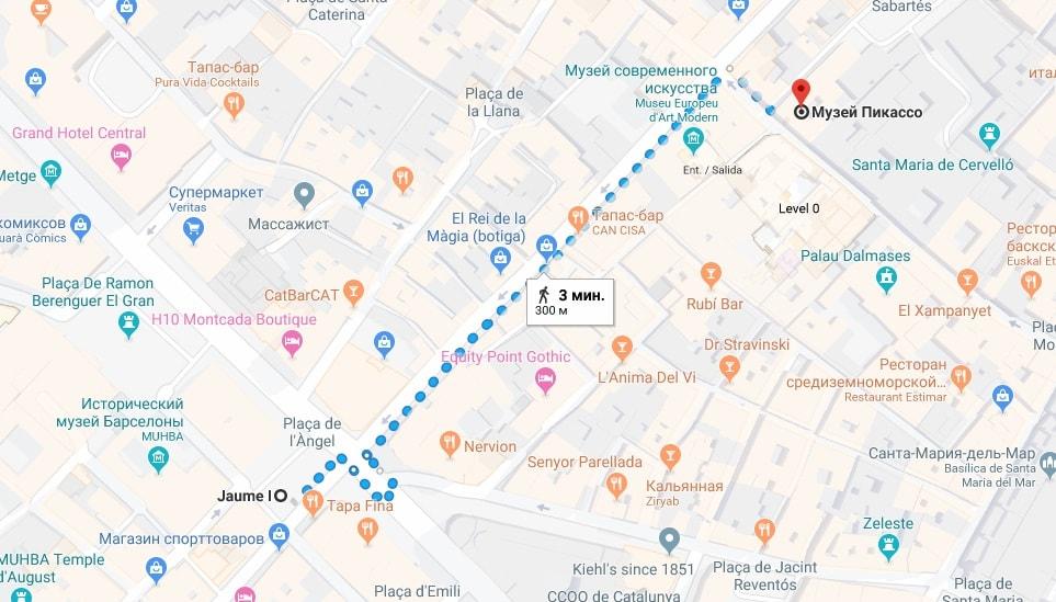 Музей Пикассо на карте Барселоны