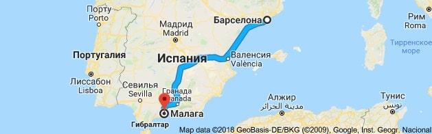 Маршрут Барселона-Малага на карте