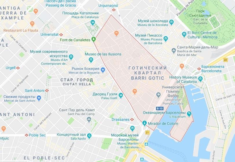 Готический квартал на карте Барселоны