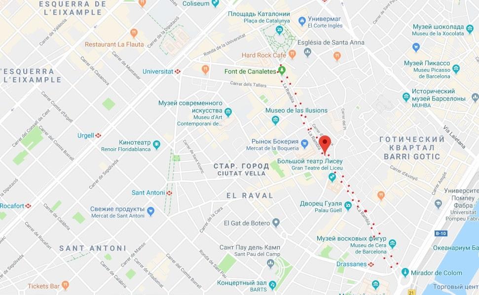Ла Рамбла на карте Барселоны