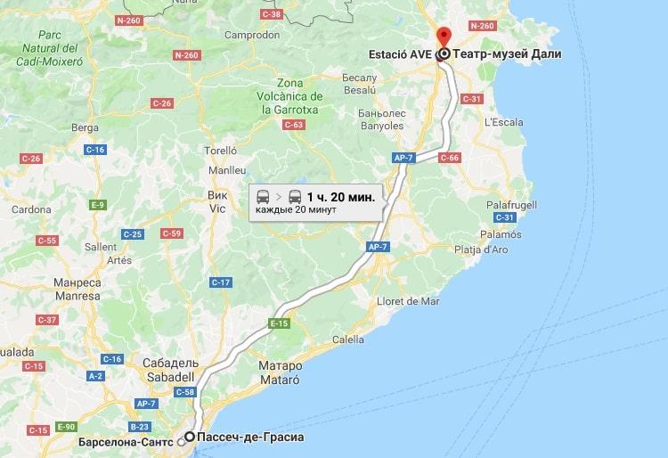 Путь до музея Дали из Барселоны