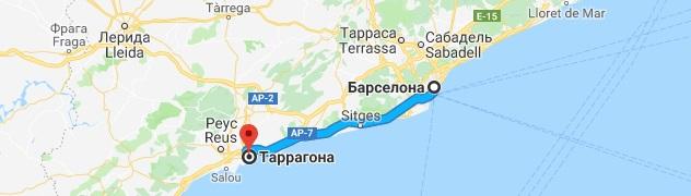 Маршрут Барселона-Таррагона на карте