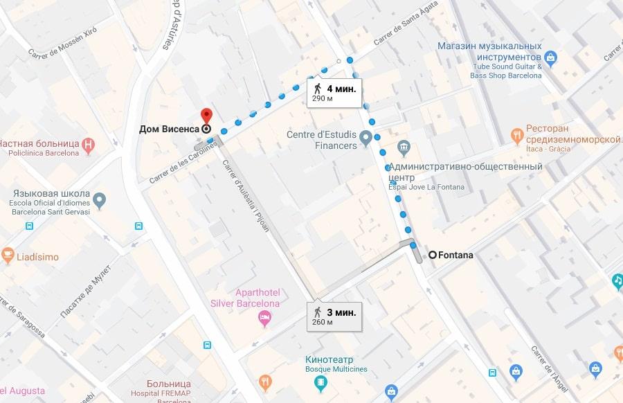 Каса Висенс на карте Барселоны