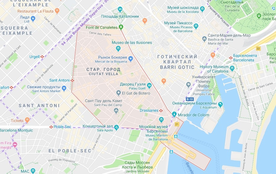 Район Раваль на карте Барселоны
