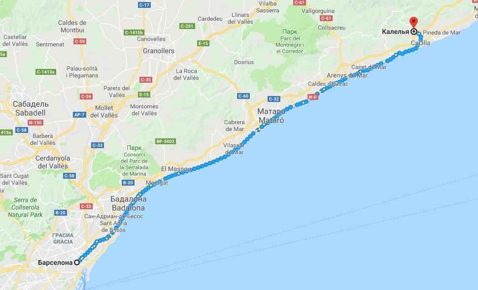 Маршрут Барселона-Калелья на карте
