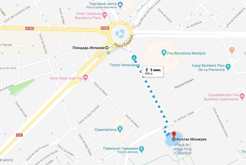Фонтан Монжуик на карте Барселоны