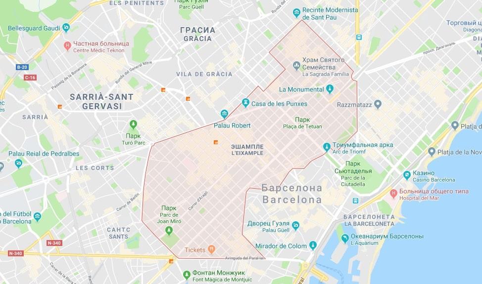 Район Эшампле на карте Барселоны
