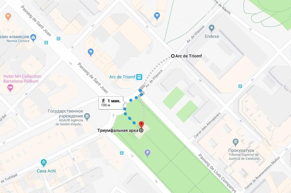 Триумфальная арка на карте Барселоны