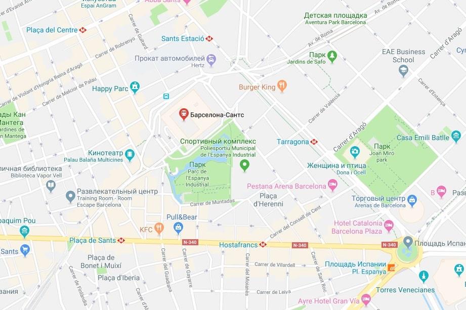 Вокзал Сантс на карте Барселоны