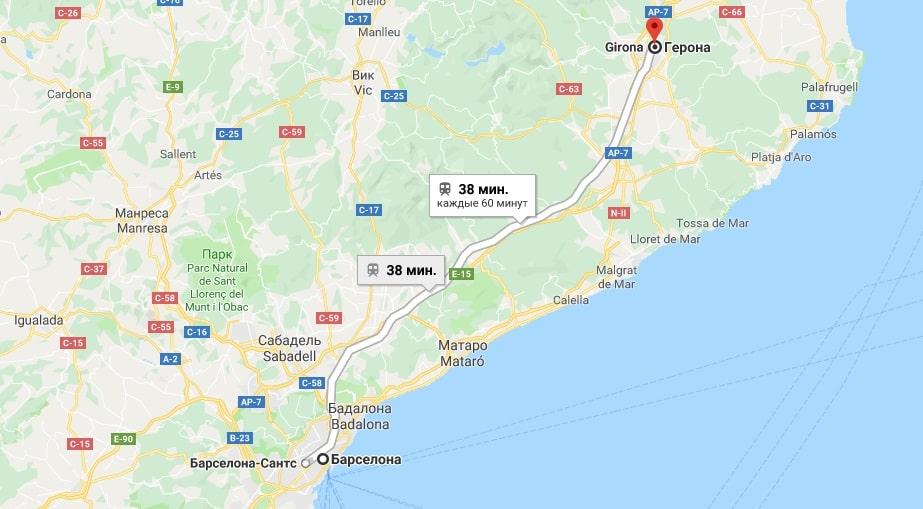 Путь из Барселоны в Жирону на карте