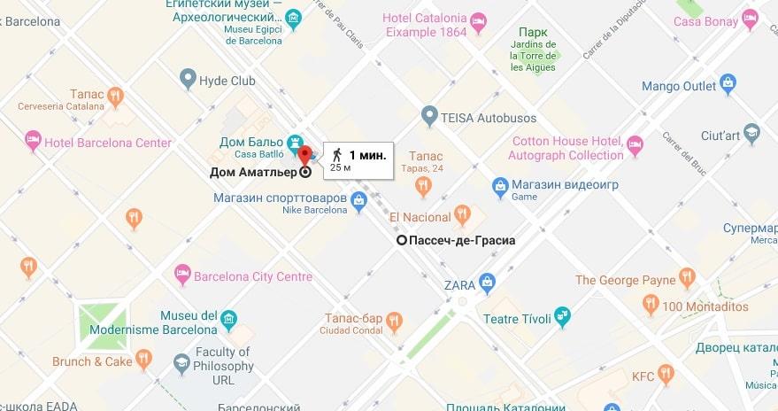 Дом Амалье на карте Барселоны