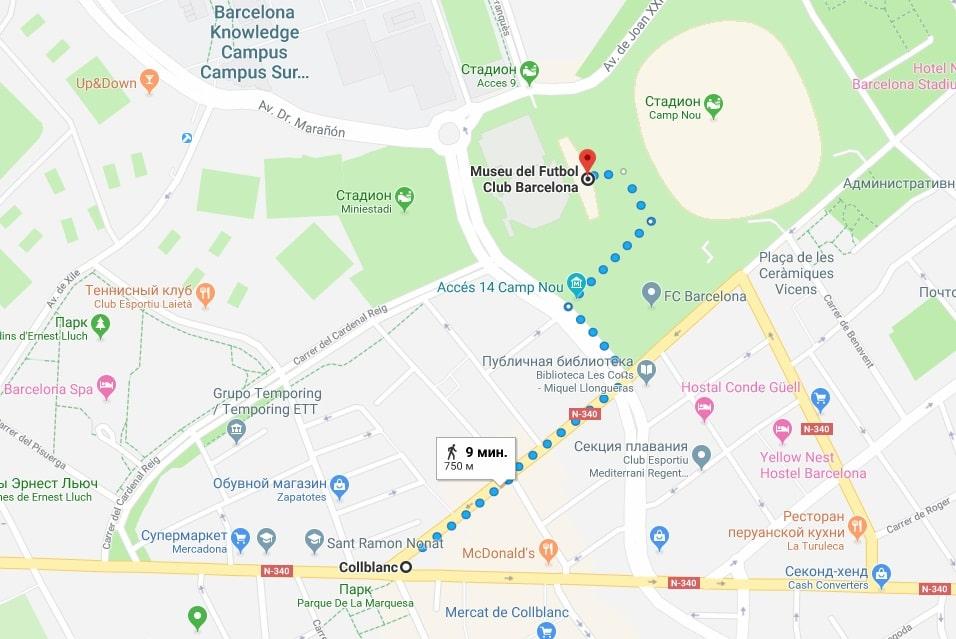 Расположение музея на карте Барселоны