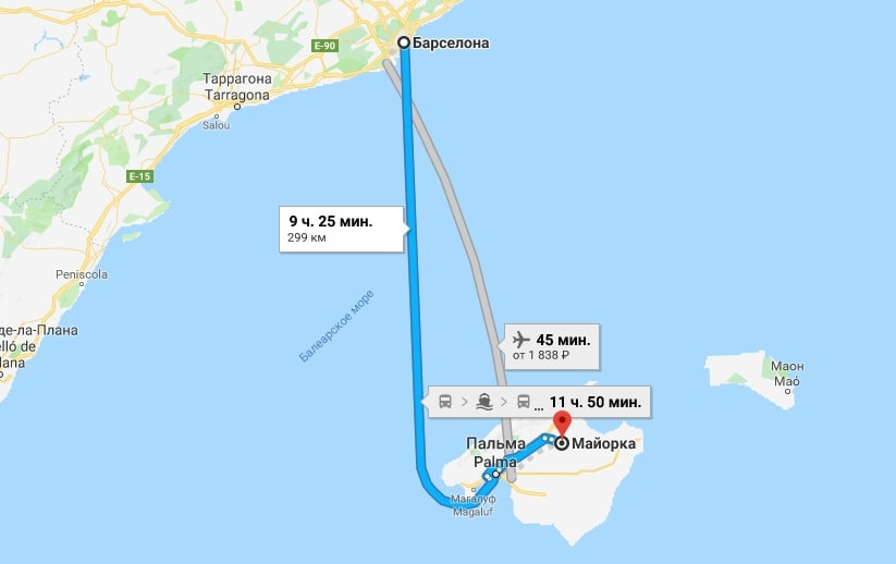 Маршрут Барселона-Майорка на карте