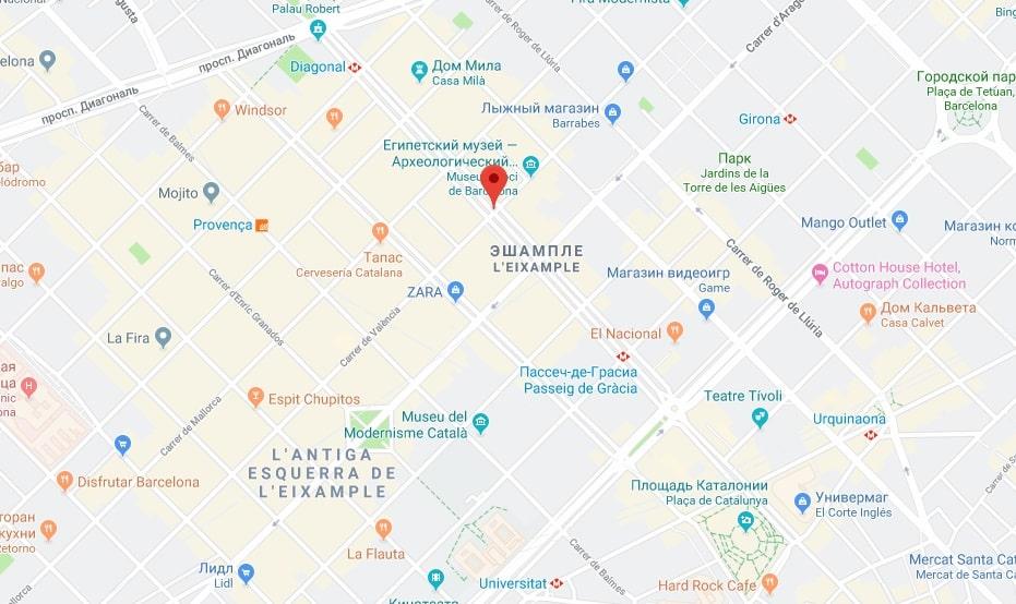 Paseo de Gracia на карте Барселоны