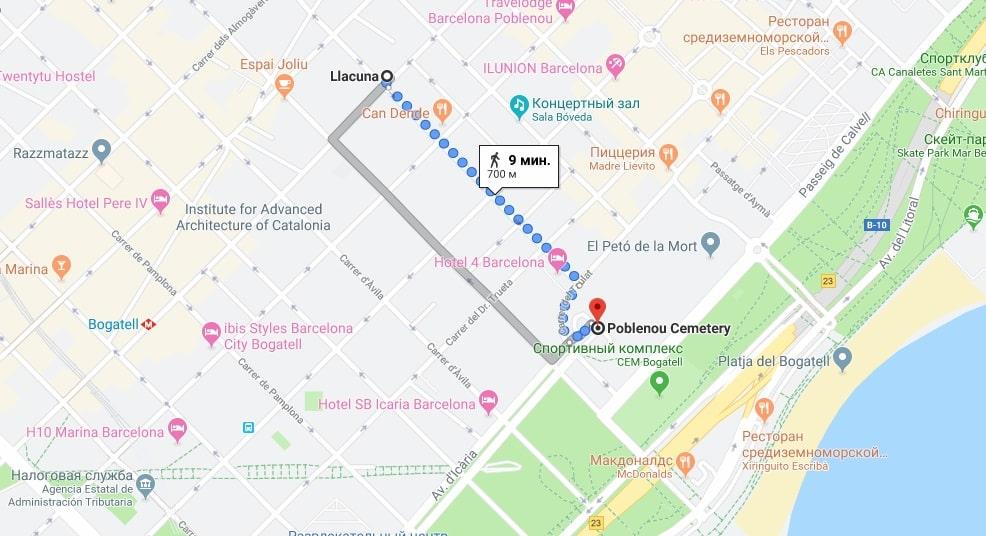 Расположение кладбища на карте Барселоны