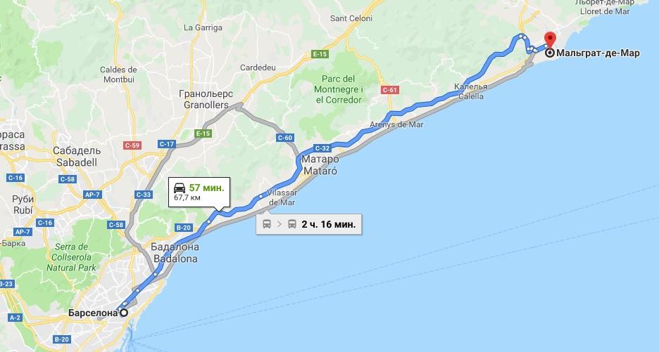Маршрут Барселона - Мальграт-де-Мар на карте