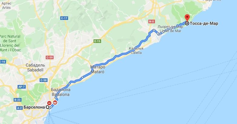 Маршрут Барселона Тосса-де-Мар на карте