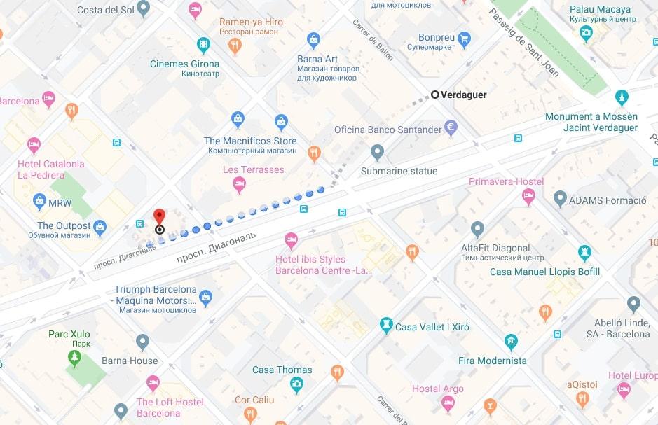Дом с шипами на карте Барселоны