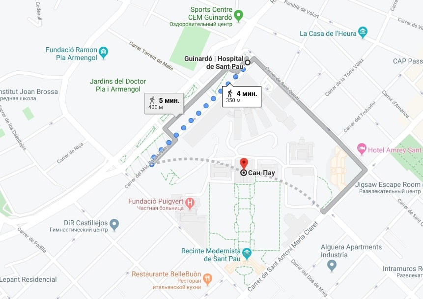 Госпиталь Sant Pau на карте