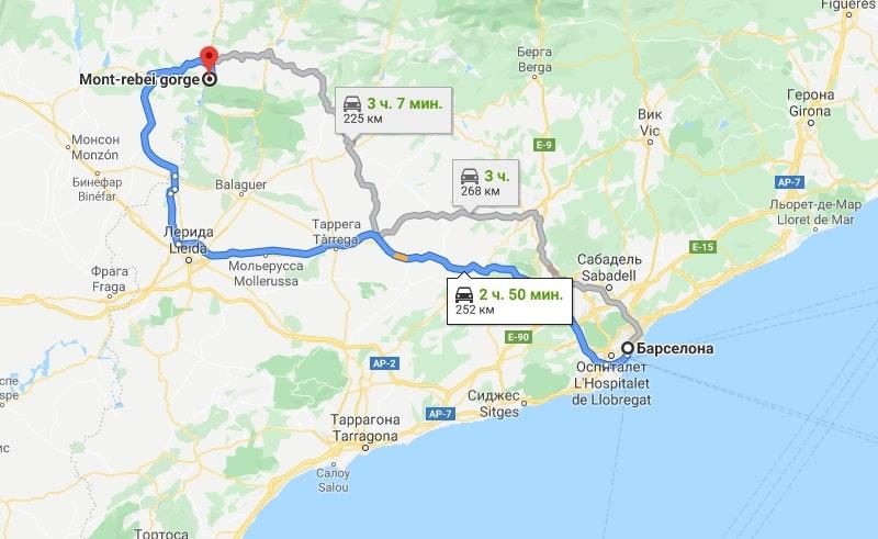 Карта с автомобильными маршрутами