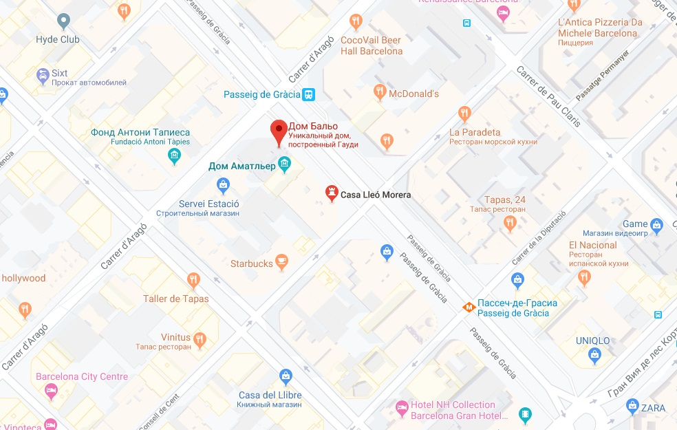 Квартал раздора на карте Барселоны