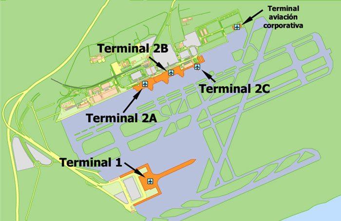 Схема терминалов El Prat